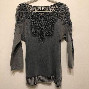 Gimmick's Grey Crochet Sweater - Medium